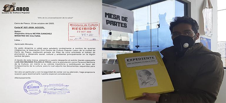 Centro Labor presenta propuesta como Persona Meritoria de la Cultura al extinto literato Luis Raymundo Pajuelo Frías.