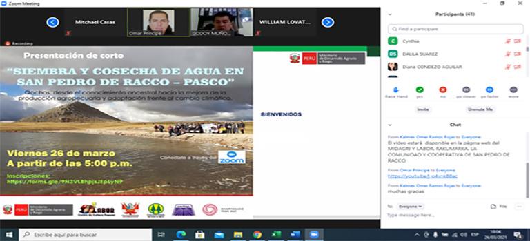 MIDAGRI, LABOR, LA COMUNIDAD Y LA COOPERATIVA SAN PEDRO DE RACCO PRESENTARON VIDEO SOBRE SIEMBRA Y COSECHA DE AGUA